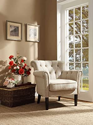Homelegance 1193F1S Flared Arm Accent Chair, Neutral