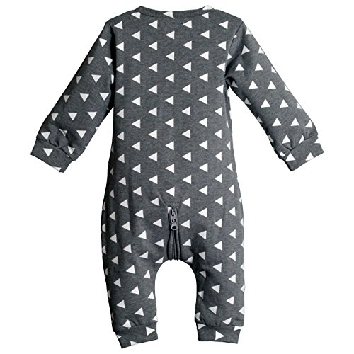 Mark's Blue Fox Baby Boys & Girls Sleep & Play Romper Coverall Bodysuit | For Infants & Toddlers (XL (9-12m), Grey)