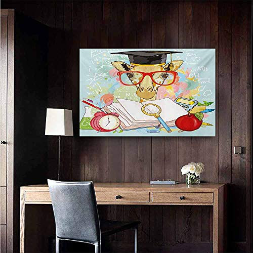 duommhome Graduation Art Oil Paintings Hipster Giraffe Animal with Glasses and Cap Geek Student in Education School Canvas Prints for Home Decorations 24