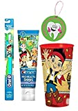 Jake & The Neverland Pirates 3pc Bright Smile Oral Hygiene Set! (1) Jake Soft Manual Toothbrush, Berry Toothpaste & Mouthwash Rinse Cup! Plus Bonus