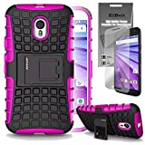 Motorola Moto G 2015 [Also Known as Moto G 3rd Generation 2015] Grenade Combat Case by ElBolt ¨ - Hot Pink with Free HD Screen Protector