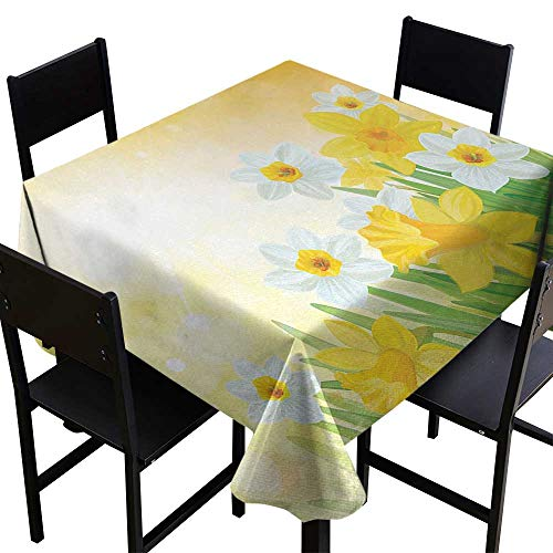 (Warm Family Daffodil Elegant Waterproof Spillproof Polyester Fabric Table Cover Daffodils Garden Narcissus Rebirth and New Beginnings Celebration Graphic Indoor Outdoor Camping Picnic W50 x L50)