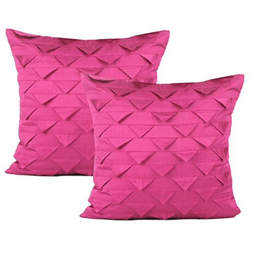 (The White Petals Set of 2 Pink Accent Pillow Covers, Origami Style, Textured (Solid Hot Pink, 20x20 inches))