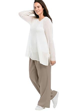 dbec8c02400 Ellos Women s Plus Size Linen Blend Wide Leg Pants at Amazon Women s ...