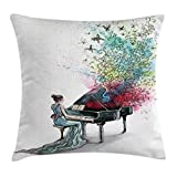Ambesonne Music Decor Throw Pillow Cushion Cover, Grand Piano Music Musician Butterflies Ornamental Pianist Swirls Vintage, Decorative Square Accent Pillow Case, 16 X 16 Inches, Multi