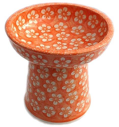 polish-pottery-cat-small-dog-raised-dry-food-dish-water-bowl-j8or-orange-blossom