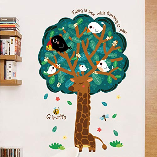 Mznm Cartoon Tree Giraffe Wall Sticker Kids Rooms Baby Bedroom Infantil Sticker Sticker Mural