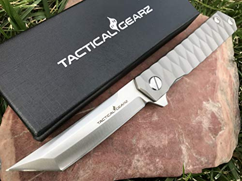 TG Saint, Tc4 Titanium EDC Folding Knife w/Sheath! Ball Bearing System, Sharp CPM-D2 Steel Blade, Straight Razor! (Saint Tanto) ()