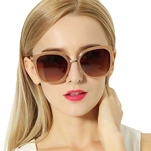 VIVIENFANG SQUARE SIGNATURE Elegant Oversized Polarize Sunglasses For Women P2170B - Polarized Australia Sunglasses