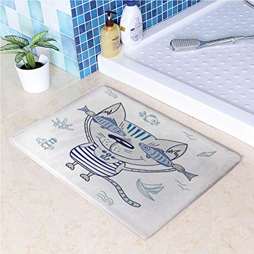 (Large Door Mats,Naughty Cat with Fish in Striped T Shirt Anchor Pendant and Nautical Sign Outdoor Indoor Entrance Doormat, Waterproof, Easy Clean, Entryway Rug,Front Doormat Inside Outside Non Slip ()