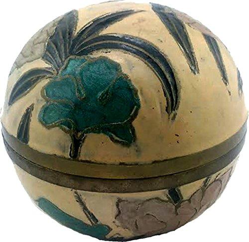 HAND PAINTED BRASS BALL SHAPED BOX 1880