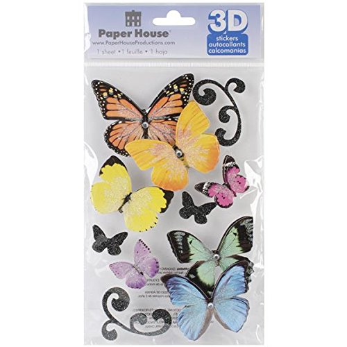 Paper House Productions STDM-146E 3D Stickers, Butterflies