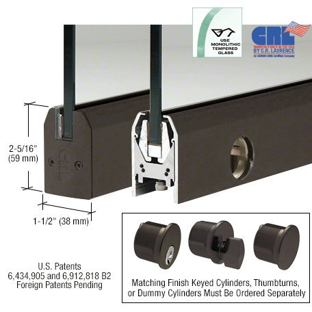 Black Bronze Anodized Low Profile 35-3/4'' Length Tapered Door Rail With Lock for 3/8'' Glass