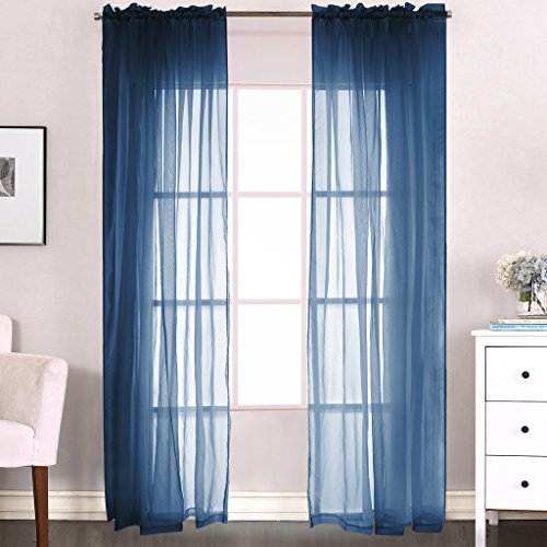 H.Versailtex 2-Piece Solid Navy Blue Sheer Window Curtains/Drapes/Panels/treatment - Blue Sheer Curtain Panels