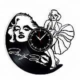 Marilyn Monroe Vinyl Record Clock - Wall Clock Marilyn Monroe American Actress, Model, and Singer - Best Gift for Sex Symbols Lover - Original Wall Home Decor
