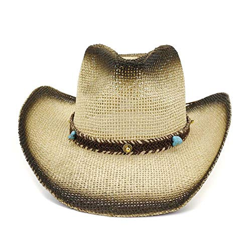 Painted Sun Visor - Fashion Outdoor Seaside Sun Visor Beach Hat Western Turquoise Decorative Woven Belt Painted Cowboy Straw Hat Styling (Color : 1, Size : 56-58CM)