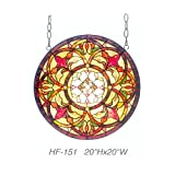 HF-151 Rural Vintage Tiffany Style Stained Church Art Glass Decorative Luxury Kaleidoscope Pattern Round Window Hanging Glass Panel Suncatcher, 20''H20''W