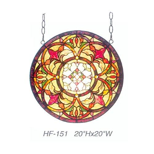 (HF-151 Rural Vintage Tiffany Style Stained Church Art Glass Decorative Luxury Kaleidoscope Pattern Round Window Hanging Glass Panel Suncatcher, 20