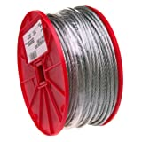 CAMPBELL Galvanized Steel Wire Rope on Reel, 7x7 Strand Core, 1/8-Inch Bare OD, 500-Feet Length, 340-Pound Breaking Strength - 7000427