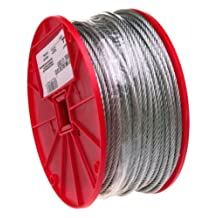CAMPBELL Galvanized Steel Wire Rope, 7x19 Strand Core, 3/16-Inch Bare OD, 250-Feet Length, 840-Pound Breaking Strength