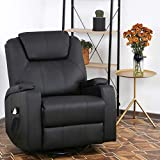 Recliner Chair Reclining Sofa PU Leather Electric Massage Chair with 360 Degree Swivel Remote Control 6 Point Vibration Modes, 2 Cup Holders