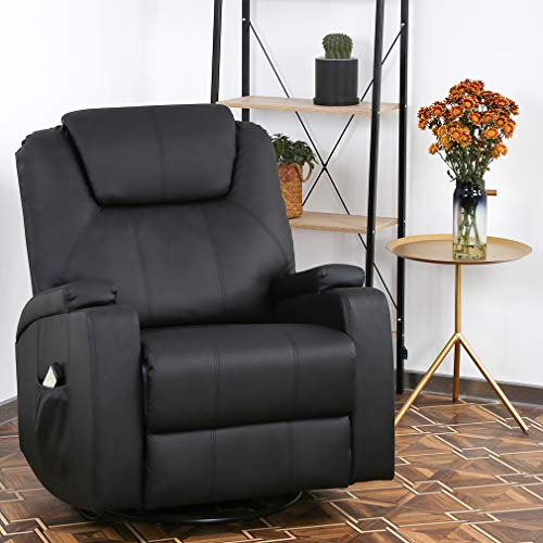 Recliner Chair Reclining Sofa PU Leather Electric Massage Chair with 360 Degree Swivel Remote Control 6 Point Vibration Modes, 2 Cup - Reclining Leather Electric
