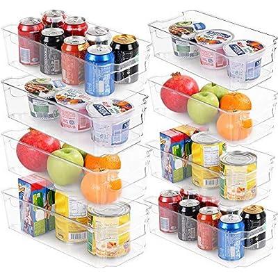 KICHLY (Juego de 8) Organizador para la despensa del refrigerador - incluye 8 organizadores 4 cajones grandes y 4 pequeños Organizadores apilables para la cocina, los mostradores y los gabinetes