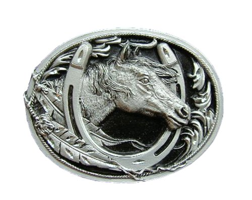 Diamond Cut Belt Buckles Horses - Horse W/Horseshoe Diamond Cut Novelty Belt Buckle