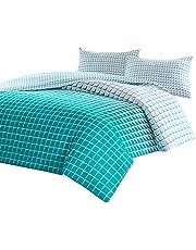 SCM Squares Gradient Teal Mosaic Printed Reversible Quilt Cover Pillowcase Set, 100% Cotton
