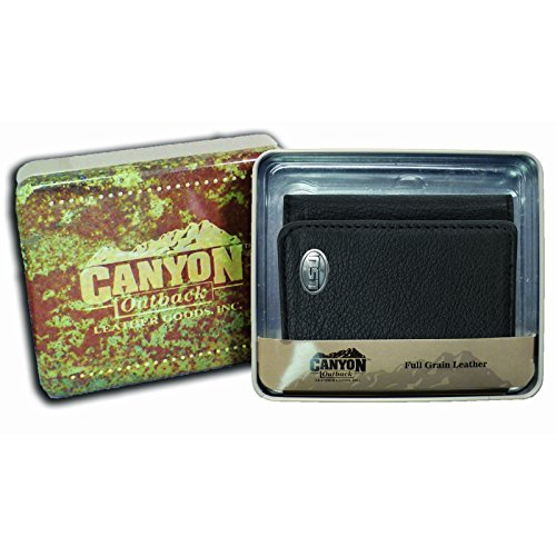 Canyon Outback Tri-Fold Black Leather Wallet, Lsu (Lsu Black Leather)
