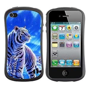 Suave TPU GEL Carcasa Funda Silicona Blando Estuche Caso de protección (para) Apple Iphone 4 / 4S / CECELL Phone case / / Winter Snow Cub Tiger White Blue Nature /