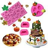 BOZOA Fall Mold - Mini Maple Leaves Pumpkin Mold Silicone Fondant Fall Harvest Thanksgiving Halloween Cake Decorations Mold Chocolate Candy Clay Tools (Set of 3)