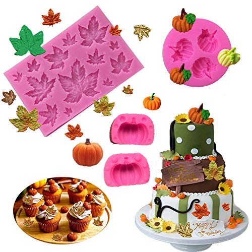 BOZOA Fall Mold - Mini Maple Leaves Pumpkin Mold Silicone Fondant Fall Harvest Thanksgiving Halloween Cake Decorations Mold Chocolate Candy Clay Tools (Set of 3)]()