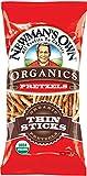 Newman's Own Organics Pretzels, Thin Sticks, 7-Ounce Bags (Pack of 12)