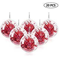 "Uten 20Pcs DIY Ornament Balls Christmas Decorations Tree Ball 3.94""/100mm Clear Fillable Baubles Craft Years Present…"