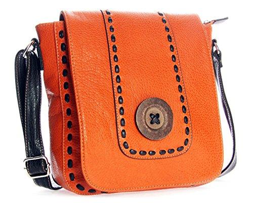 32x28x11 à Moyenne cm LxHxP BHBS Bois Orange Messager Bouton Tendance Détail Femmes Sac taille Petite 0PfqH8w
