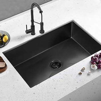 ALWEN 33 inch Undermount Kitchen Sink, Gunmetal Black Kitchen Sink
