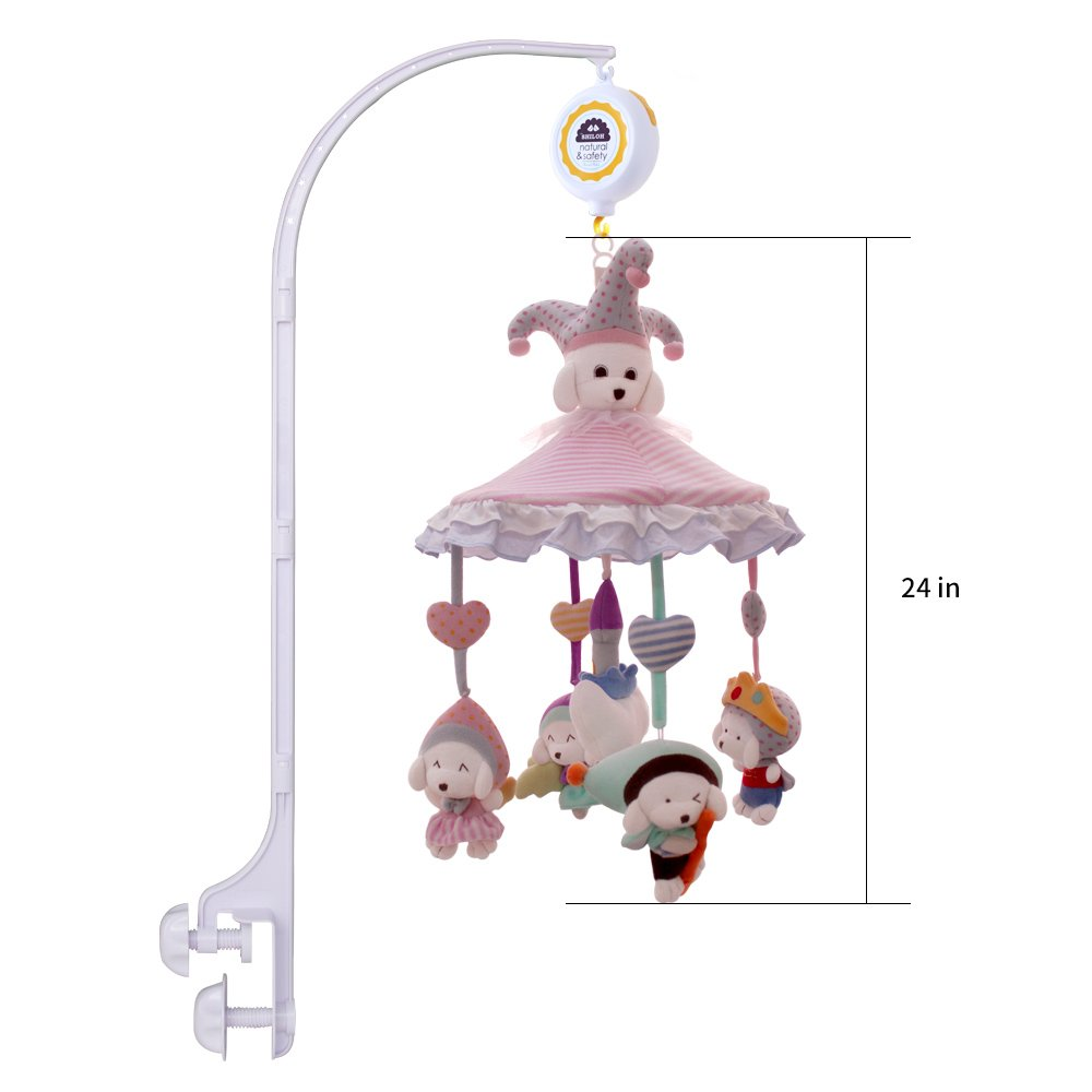 Pink Airship SHILOH Baby Crib Mobile with Musical Box /& Holder