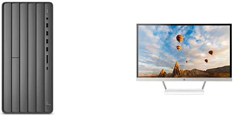 HP Envy Desktop Computer, Intel Core i7-9700, 16GB RAM, 1TB Hard Drive, 512 GB SSD, Windows 10 (Black) & 27er 27-Inch Full HD 1080p IPS LED Monitor with Frameless Bezel and VGA & HDMI