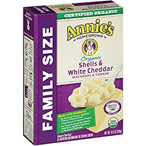 Annie's Organic Family Size Macaroni and Cheese, Shells & White Cheddar Mac and Cheese, 10.5 oz Box (Pack of 6)
