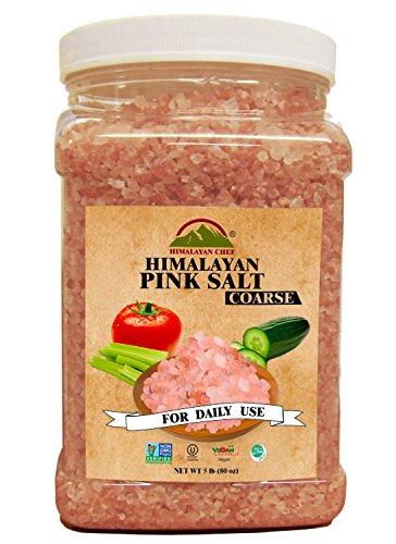 Himalayan Chef 100% Natural Pink Salt Jar, 5 Pound Coarse Grains (Pink Himalayan Salt And High Blood Pressure)