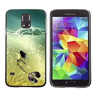 CashCase @ FOR Samsung Galaxy S5 Mermaid Whale Ocean Turquoise Art Bubbles Doble capa de armadura de la cubierta del caso del protector