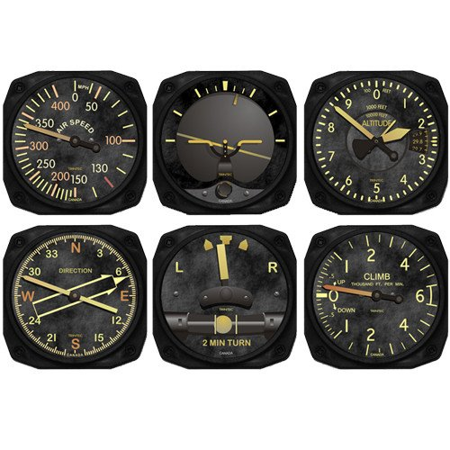 6-Piece Vintage Aircraft Instrument Inspired Coaster Set - Aircraft Instrument