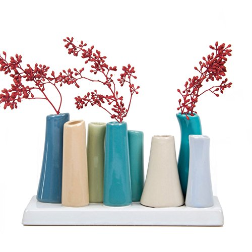 Chive - Pooley 2, 7.25 Long 3 Wide 4.5 Tall Unique Rectangle Ceramic Flower Vase, Small Bud Decorative Floral Vase Home Decor Centerpieces, Arranging Bouquets, Connected Tubes (Steel Blue, Green)
