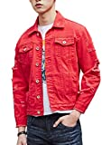 DSDZ Men`s Retro Vintage Washed Ripped Hip Hop Motorcycle Denim Jacket Red L