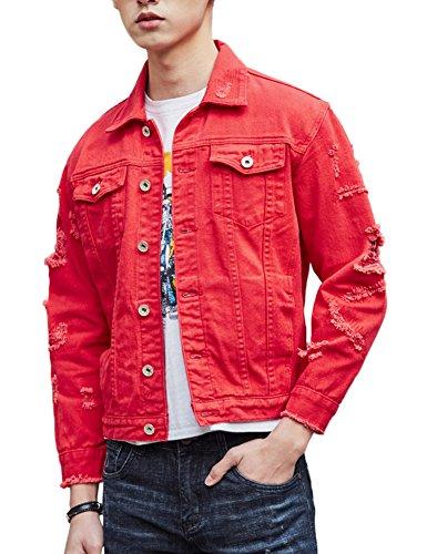 DSDZ Men`s Retro Vintage Washed Ripped Hip Hop Motorcycle Denim Jacket Red L by DSDZ