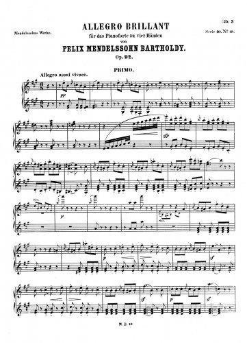 Allegro brillant - Piano Duet Scores - Score