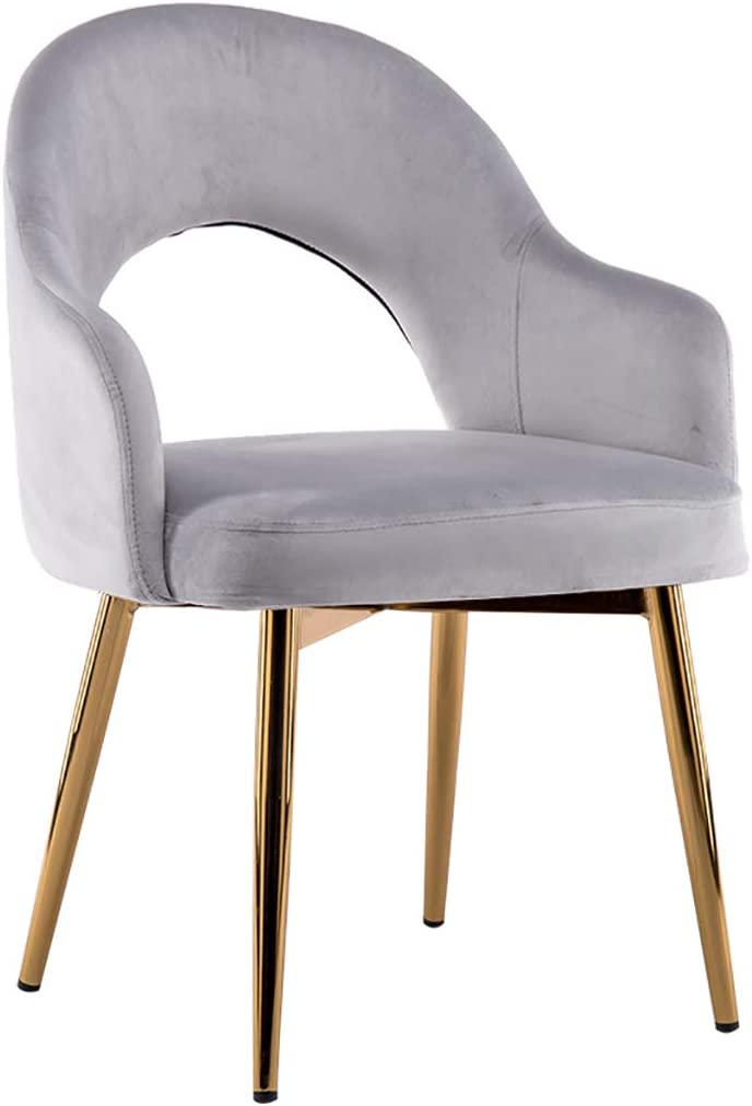 RXBFD Nordic Dining Chair, Wrought Iron Fabric Armchair/Coffee Chair/Leisure Chair, Ergonomically Designed, for Restaurant/Office/Counter/Family