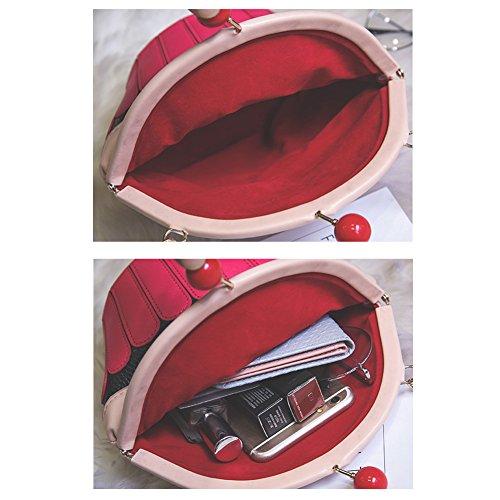 TOMATO-smile - Cartera de mano con asa de poliuretano para mujer rosa Rose