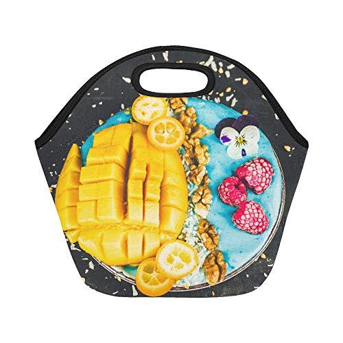 Insulated Neoprene Lunch Bag Fresh Blue Spirulina Smoothie